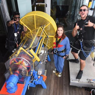 Cruising With Jane Mcdonald - Ep 2 OZ & NZ - Jane prepares to do the 'SkyJump', a 192 metre plummet towards earth.