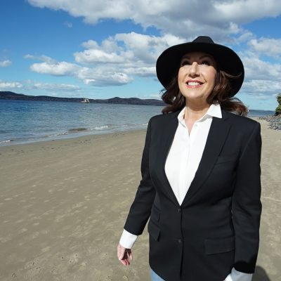Cruising With Jane Mcdonald - Ep 2 OZ & NZ - Jane on the beach at Hobart, Tasmania
