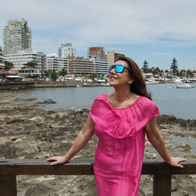 Cruising With Jane McDonald Se4 Ep 1 - Jane on the coast of Punta Del Este, Uruguay.